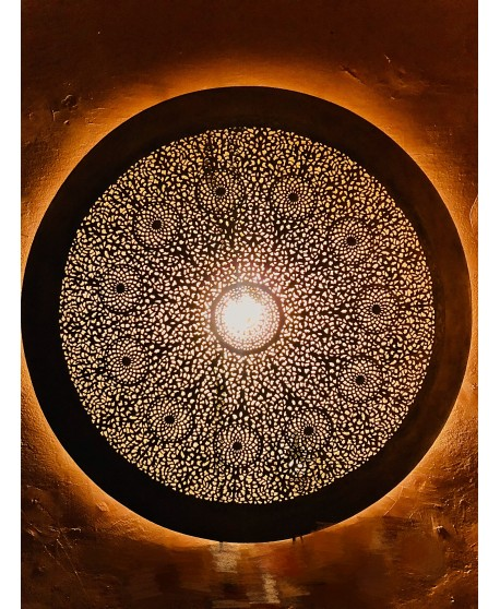 LARGE MOROCCAN WALL Light SCONCE ROUND Antique BRASS 1M