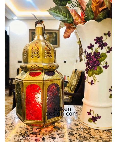 moroccan candle light Ornate brass/glass lantern in Moroccan design, wind light,
