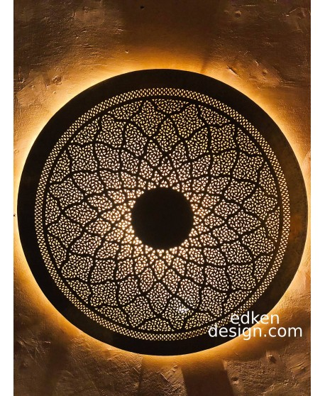 Moroccan Brass Wall Light Hand Made,Sconce Moroccan Arts And Crafts,Moroccan Design - Moroccan Wall Light round 1M