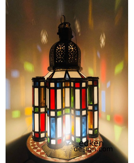 Large Moroccan Floor Lamp brass with Multicolor Glass