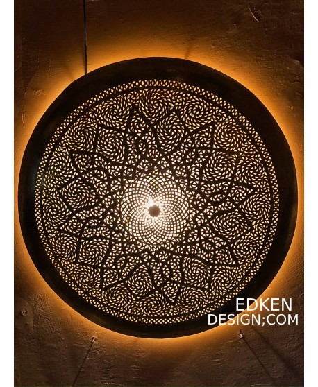 Moroccan Wall Lamps sconce Round In Brass 80cm Home Deco
