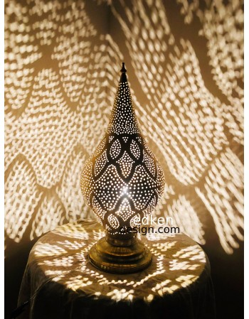 Moroccan Table Lamp, Brass...
