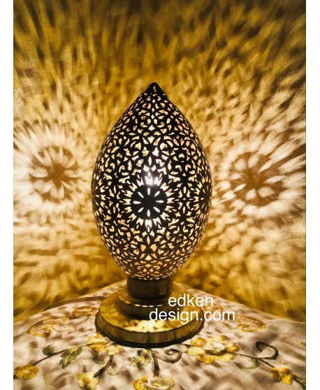 egg shape Moroccan lamp,Vintage Home Decor, Lamps Engraved Style Antique Brass. Lamp Shades Table