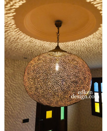 Large Moroccan Lamps Ceiling In Brass,Pendent Lighting Hanging Made By Hand Home Decor