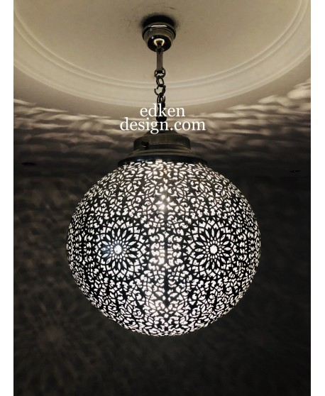 Moroccan Lamps Ceiling Silver, Moroccan Lighting Fixture Handmade Silver Moroccan Style