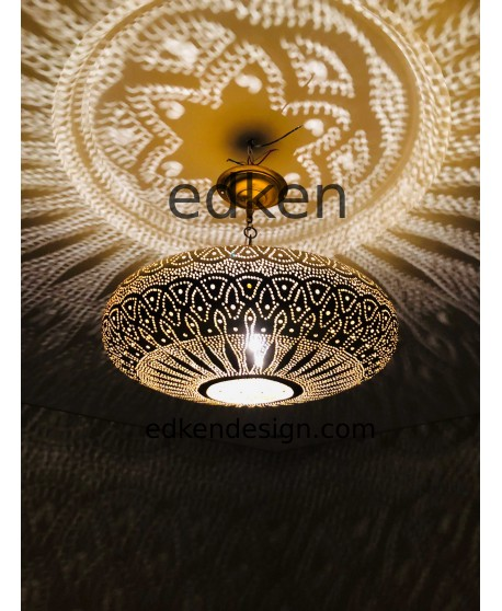 Moroccan Lamp Ceiling In Brass Made By Hand